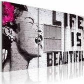 Schilderij - Banksy - Life is Beautiful, Zwart-Wit/Roze, 3luik, Premium print