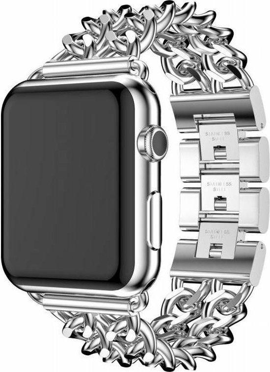 Apple watch stalen cowboy schakel band - zilver - 42mm en 44mm