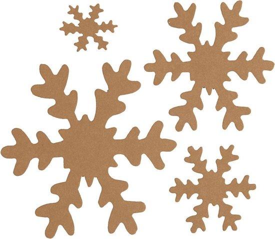 Sneeuwvlok. naturel. d: 3+5+8+10 cm. 350 gr. 16 stuk/ 1 doos
