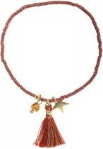 Joboly Ibiza kralen armband met bedels - Dames - Rood - 18 cm