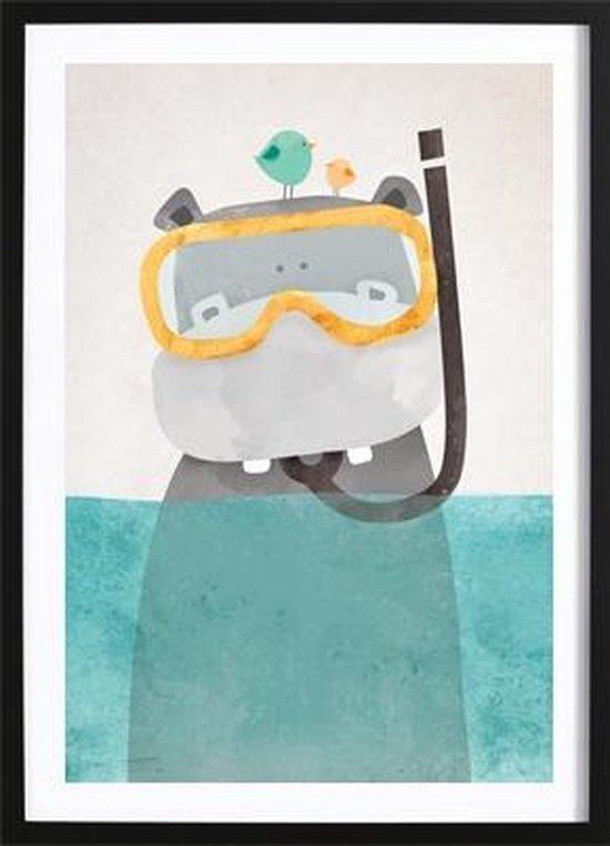 Snorkel Nijlpaardje Poster (50x70cm) - Kinderen - Poster - Print - Kinderkamer - Wallified