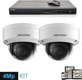 HD IP 2x dome 4 Megapixel camerabewaking set