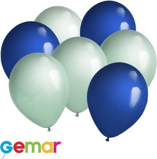 30 ballonnen Mintgroen en Blauw (Ook geschikt voor Helium)