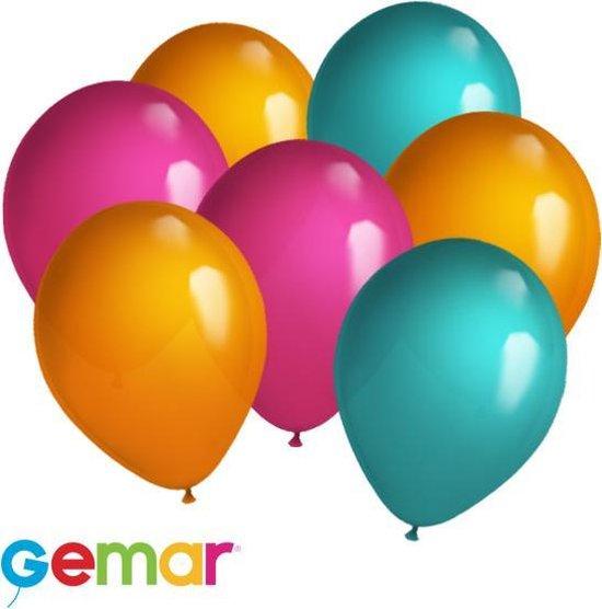 30 ballonnen Oranje, Fuchsia en Turquoise (Ook geschikt voor Helium)