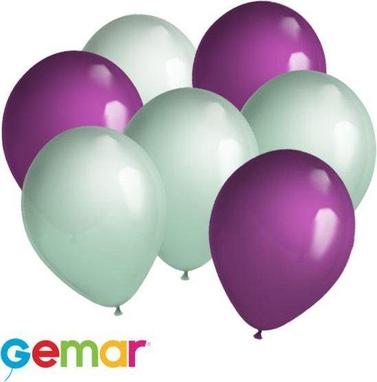 30 ballonnen Mintgroen en Paars (Ook geschikt voor Helium)