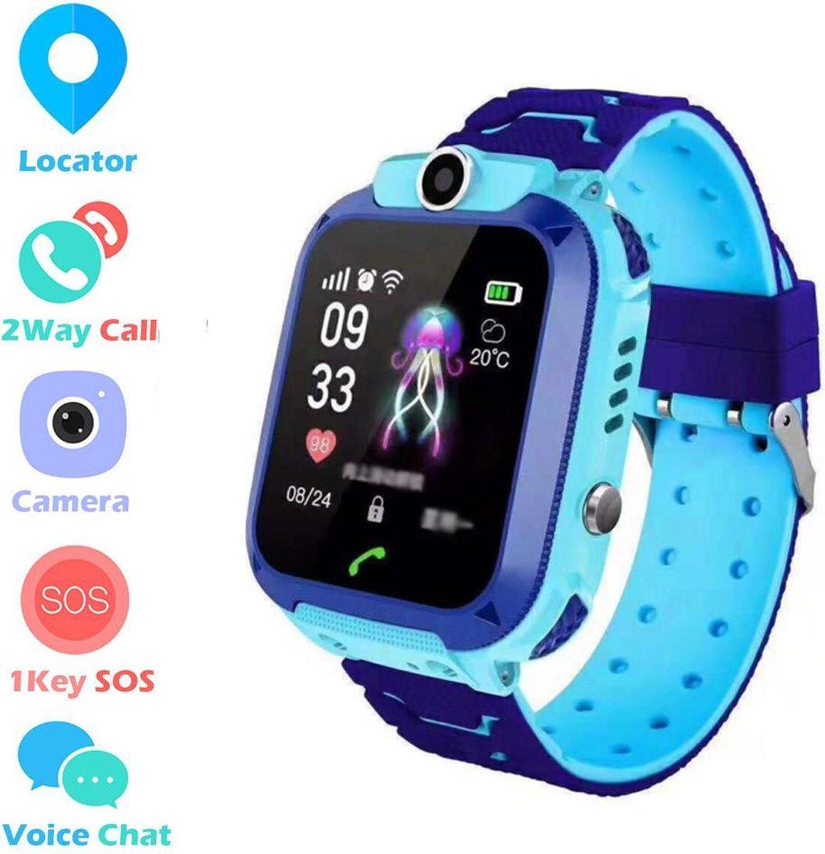 """IP67 Waterbestendig 1.44"""" Aanraken Scherm SOS LBS Two-way Call Externe Monitor Voor Camera Kinderen Horloge   Blauw"""