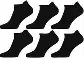 Zwarte Sneaker Sokken | 6 Paar | Maat 43-46 | Enkel Sokken | Voor Heren en Dames