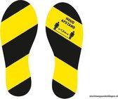 Vloerstickers - voetstappen - route aanduiding - geel zwart - links  rechts - COVID-19 - Corona - Antislip - uv bestendig - supergrip plaklaag