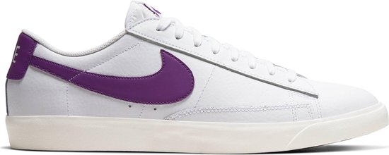 Nike Blazer Low Leather Heren Sneakers - White/Voltage Purple-Sail - Maat 45