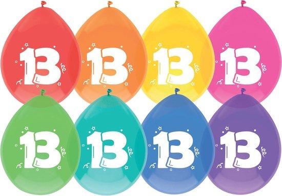 """Haza Original Ballonnen Multicolor Met Opdruk """"13"""" 30 Cm 8 Stuks"""