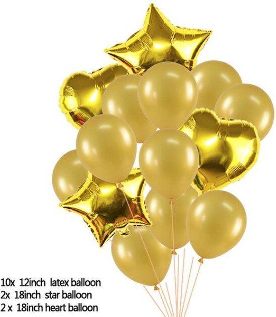 Ballonpakket 14 stuks Folieballonnen en Latexballonnen in Goud (31250)