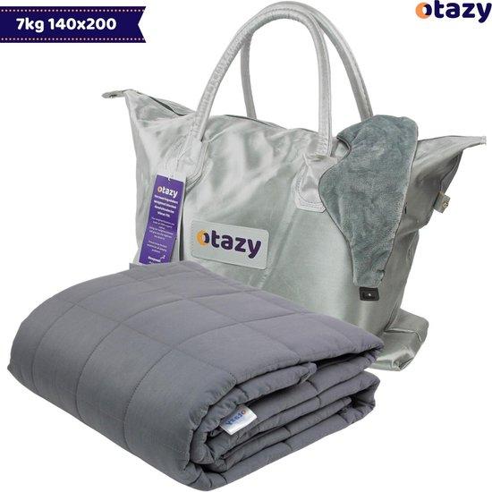 Otazy Verzwaringsdeken 7 Kg - 140 x 200 - Grijs - Weighted blanket - Voor lichaamsgewicht tussen 60 en 75 kg. Mét GRATIS draagtas en verzwaringsmasker!