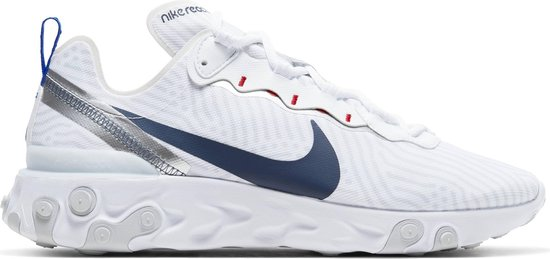 Nike React Element 55 Heren Sneakers - White/Midnight Navy-Bright Blue - Maat 44.5
