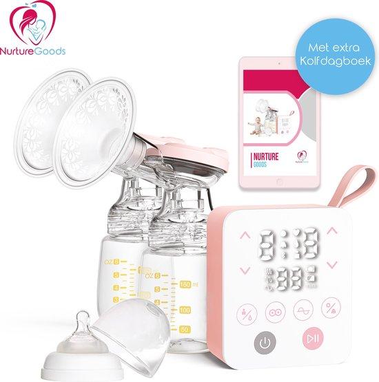 NurtureGoods Smart 2.0 Oplaadbare Dubbele Elektrische Borstkolf - Met 2x 180 ml Babyfles, Kolfdagboek & Speen