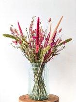 Droogbloemen boeket | Vrolijk roze | 80 cm hoog