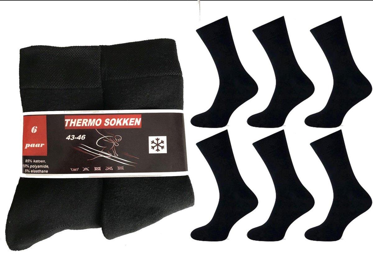 6 paar dikke ( zwart ) THERMO sokken 39-42