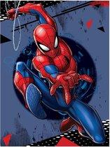 SpiderMan Fleece deken Swing Shot  - 100 x 140 cm - Blauw