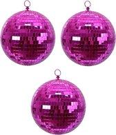 3x Fuchsia roze disco spiegelballen kerstballen 8 cm - Kerstboomversiering/kerstversiering discobollen/discoballen