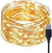 Lichtsnoer koper - 5m - 50 LED's - Warm Wit - USB