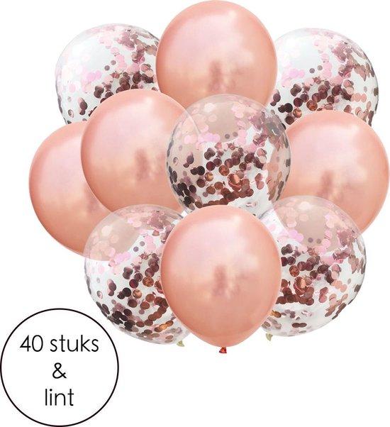 FLOKOO ballonnen set - 40 stuks Rose Goud Helium Ballonnen met Lint – Decoratie – Confetti – Latex – Ballonnen – Bruiloft – Verjaardag – Babyshower