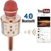 Magic karaoke microfoon draadloos met speaker - rose gold
