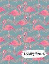 Sketchbook: Pink Flamingo With Teal and Gray Background Fun Framed Drawing Paper Notebook