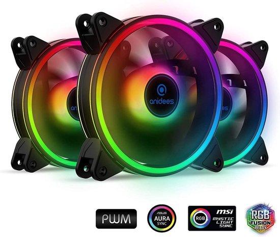 anidees AI Tesseract Duo 120 mm 3 stuks RGB PWM Dual Light Loop-ventilator Compatibel met 5 V 3-pins adresseerbare RGB-header, voor pc-behuizing Ventilator, koelventilator, met afstandsbediening (AI-Tesseract-Duo)