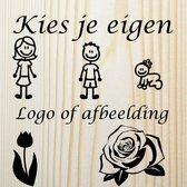 Van hout gemaakte naambord gepersonaliseerd met uw eigen logo of afbeelding - Voordeur - 16x16cm