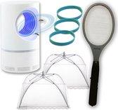Voordeelpakket | Elektrische Vliegenmepper | Muggenlamp LED met aanzuiging | 2 x Vliegenkapjes wit | 3x Muggenarmband