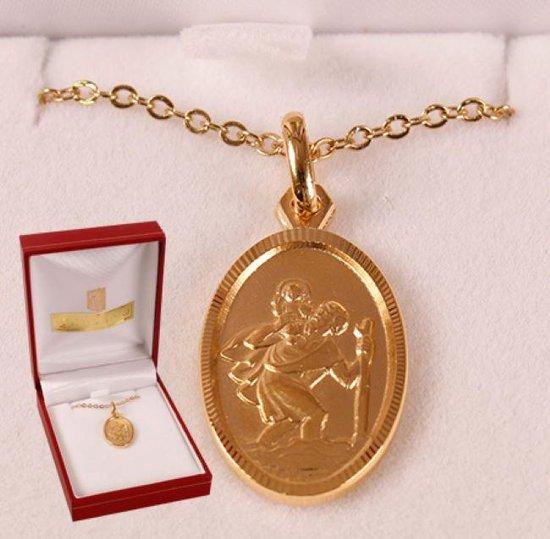 Christoffel ketting met hanger goud.(6863)