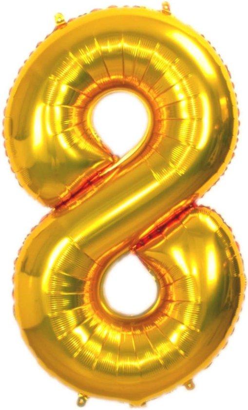 Folie Ballon Cijfer 8 Jaar Goud 36Cm Verjaardag Folieballon Met Rietje