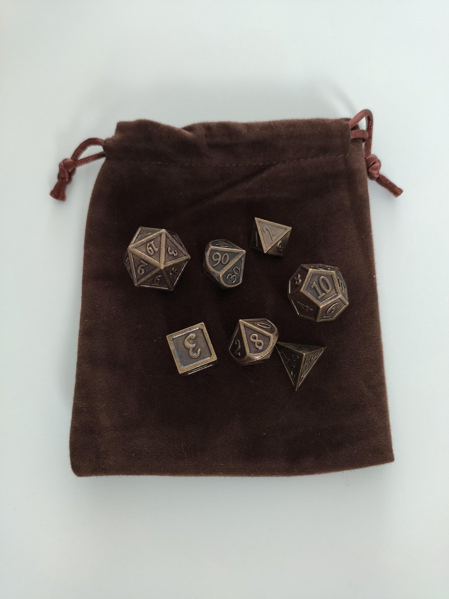 Dungeons and Dragons D&D Premium Dice Polydice |Incl Bewaarzakje| Set van 7 | DnD | Metalen Dobbelstenen met Pouch | High Quality