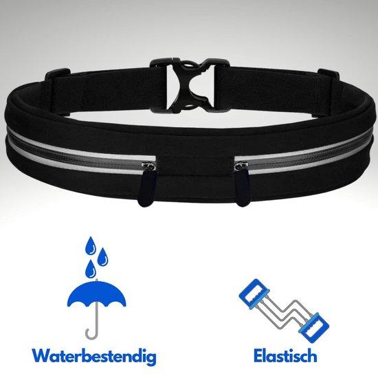 Quzi Waterproof Hardloopband met 2 Opbergvakken-Running Belt -Sport Accessoires- Hardloopriem Geschikt voor Hardlopen/Wandelen/Joggen-Heuptas-Running Bag-Sporttas- 78 cm tot 140 cm Verstelbaar-Zwart