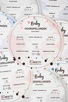 Babyshower invulkaart voorspellingskaart wenskaart baby| ROZE | ROND | 15 STUKS | LET'S CONFETTI