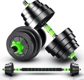 EchoGoods Dumbellset 30 KG - 2 x 15 KG  - Inclusief GRATIS krachtoefeningen - Verstelbare dumbells - Halterset - Dumbbell - Gewichten - Fitness - Zwart/Groen