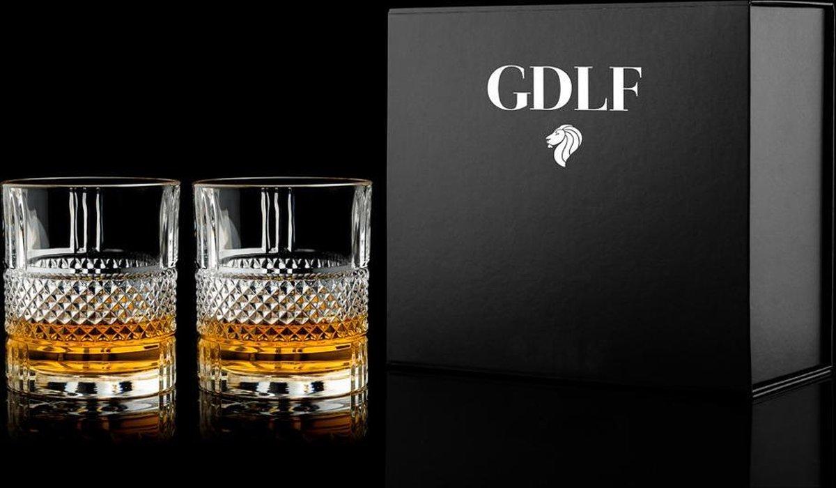 Grote whiskey glazen Superior set van 2 in geschenkdoos by GDLF