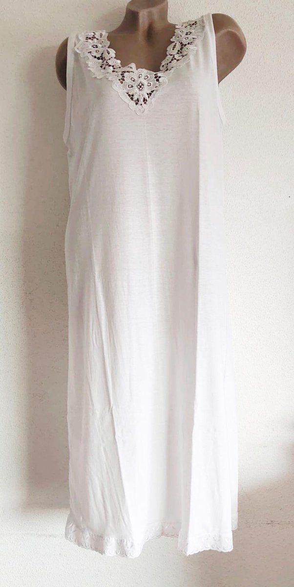 Dames katoenen nachthemd met kant mouwloos XL 42-46 wit