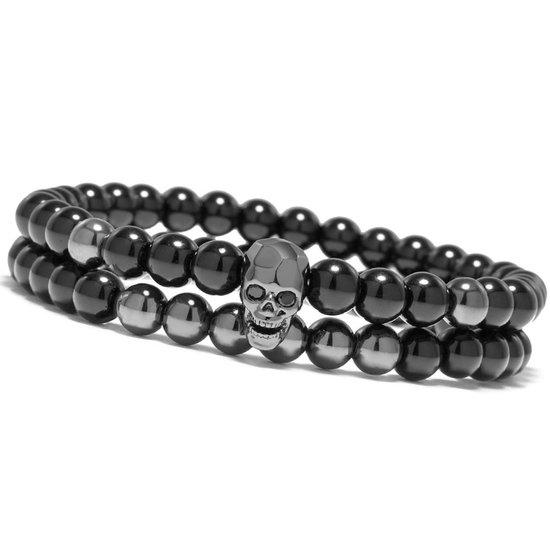 Victorious Set Natuurstenen Kralen Armbanden Heren – Zwarte Schedel – Zwart – 18cm - Victorious