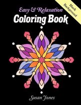 Easy & Relaxation Coloring Book Black Background: Mandalas Black Background