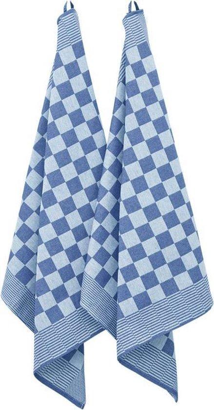 Theedoekenset 65 x 65 cm Geblokt Blauw (per set van 6)