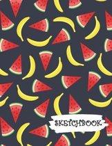 Sketchbook: Bright Cartoon Watermelon & Banana Fun Framed Drawing Paper Notebook