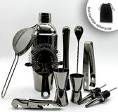 Professional Black Metal Cocktail Set - Met Gratis Opbergzak – Luxe Zwarte Cocktailshaker set – 11-delig – premium RVS