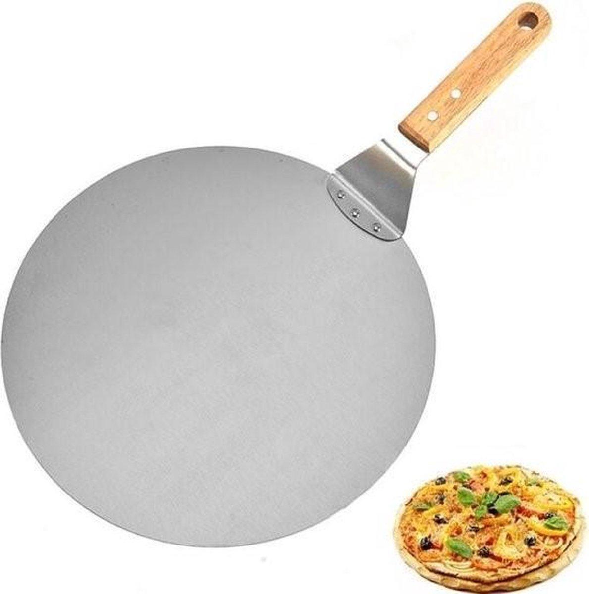 Pizzaschep RVS Rond voor BBQ of Oven - houten handvat 30cm Pizzaschep - Pizzaspatel - Taartschep -Sp