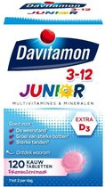 Davitamon Junior 3+ kauwvitamines - multivitamine - framboos - 120 tabletten