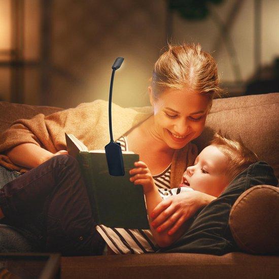Amber LED Light Leeslampje – Leeslampje Bed – Leeslampje Met Klem – 3 Lichtstanden & Dimbaar – Incl. USB Oplaadkabel – Oog Vriendelijk