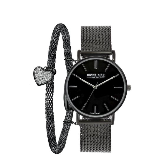 Stalen blackplated set met horloge