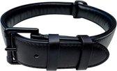 Brute Strength - Luxe leren halsband hond - Zwart met zwarte stiksels - M - 51 x 2,5 cm - leren hals band
