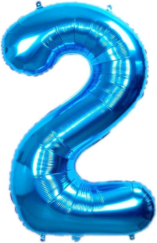 Folie Ballon Cijfer 2 Jaar Blauw 36Cm Folie Ballon Verjaardag Met Rietje