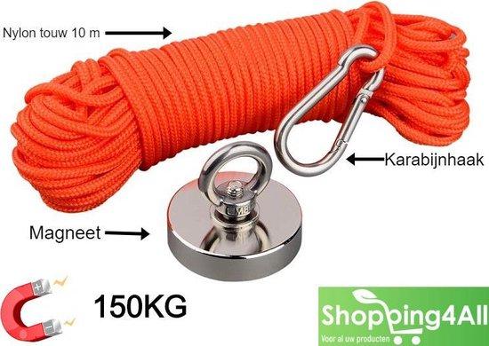 Vismagneet- Magneetvissen- 150KG- 10m Touw- Handschoenen- Karabijnhaak- GEEN schroefborgmiddel nodig- Shopping4All