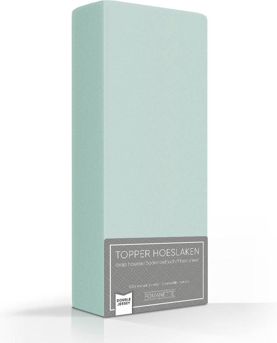 Hoogwaardige Dubbel Jersey Topper Hoeslaken Eenpersoons Groen | 80/90/100x200/210/220 | Zacht En Dik | Rondom Elastiek